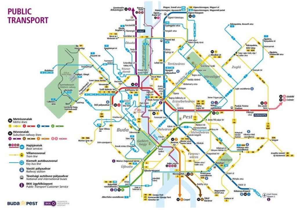 Budapeşte Şehir İçi Ulaşım Haritası